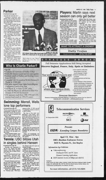 Daily Trojan, Vol. 124, No. 43, March 27, 1995