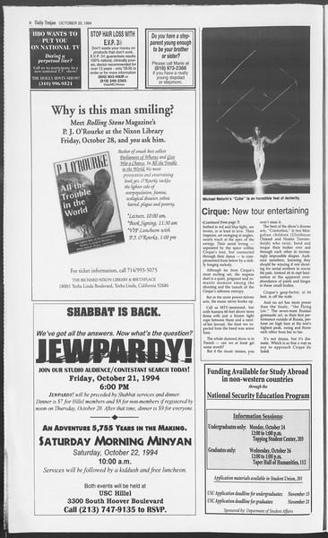 Daily Trojan, Vol. 123, No. 34, October 20, 1994
