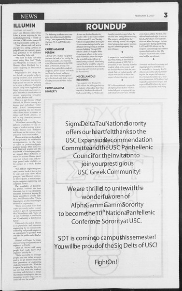 Daily Trojan, Vol. 160, No. 22, February 09, 2007