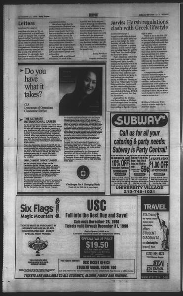 Daily Trojan, Vol. 135, No. 35, October 22, 1998