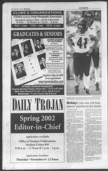 Daily Trojan, Vol. 144, No. 49, November 06, 2001