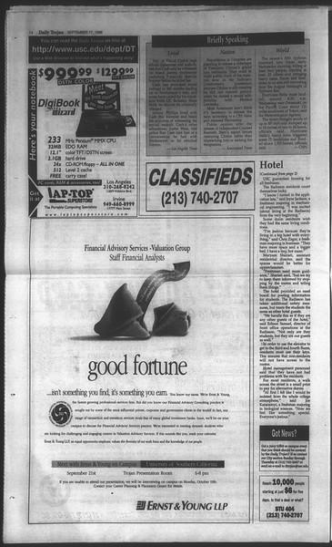 Daily Trojan, Vol. 135, No. 10, September 17, 1998