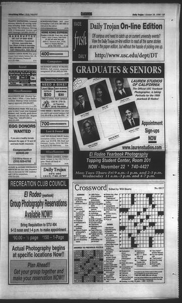 Daily Trojan, Vol. 135, No. 40, October 29, 1998
