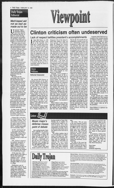 Daily Trojan, Vol. 124, No. 20, February 10, 1995