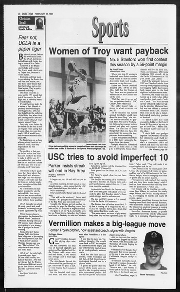 Daily Trojan, Vol. 124, No. 27, February 23, 1995
