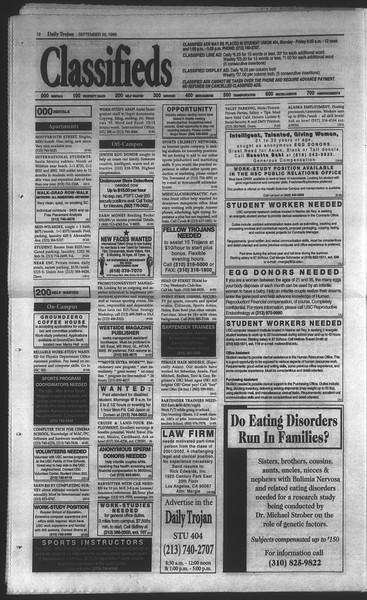 Daily Trojan, Vol. 135, No. 13, September 22, 1998