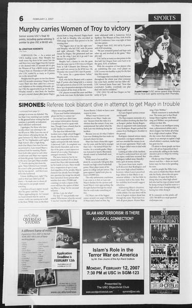 Daily Trojan, Vol. 160, No. 17, February 02, 2007