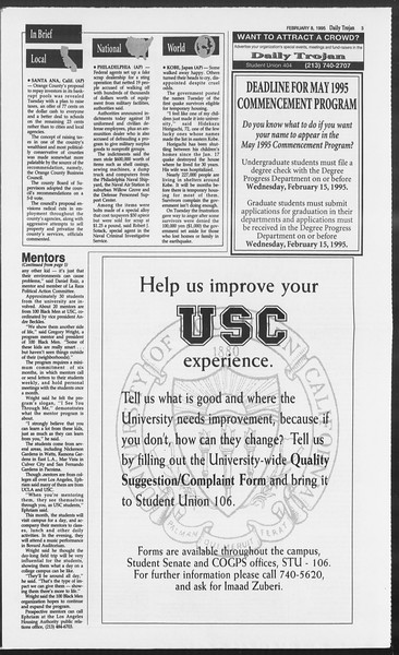 Daily Trojan, Vol. 124, No. 18, February 08, 1995