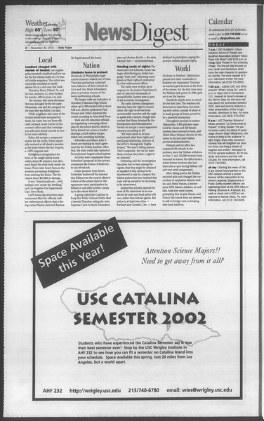 Daily Trojan, Vol. 144, No. 62, November 30, 2001