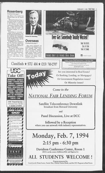 Daily Trojan, Vol. 122, No. 18, February 07, 1994