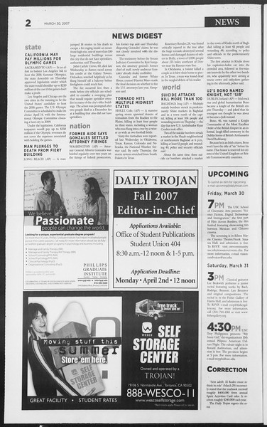 Daily Trojan, Vol. 160, No. 48, March 30, 2007