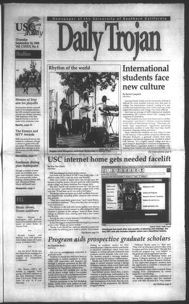Daily Trojan, Vol. 135, No. 5, September 10, 1998