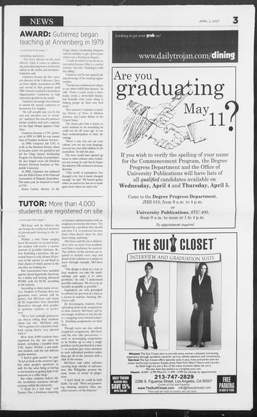 Daily Trojan, Vol. 160, No. 49, April 02, 2007
