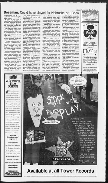 Daily Trojan, Vol. 124, No. 24, February 16, 1995