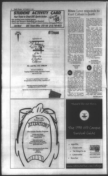 Daily Trojan, Vol. 135, No. 4, September 09, 1998
