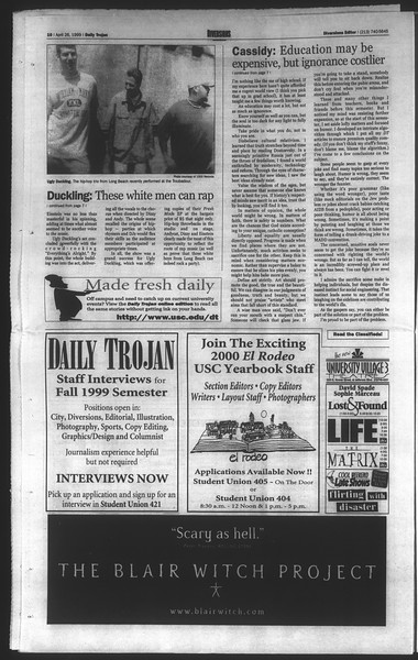 Daily Trojan, Vol. 136, No. 62, April 26, 1999