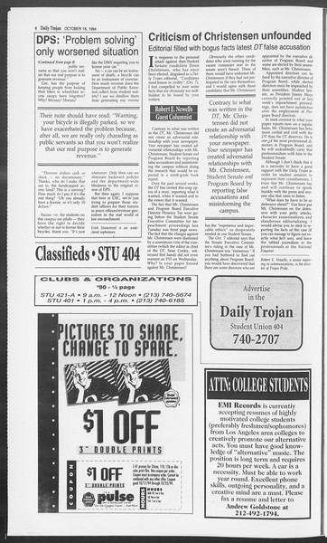 Daily Trojan, Vol. 123, No. 32, October 18, 1994