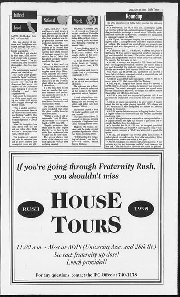 Daily Trojan, Vol. 124, No. 5, January 20, 1995