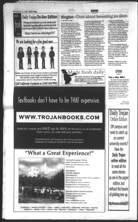 Daily Trojan, Vol. 136, No. 1, January 14, 1999