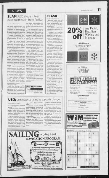 Daily Trojan, Vol. 160, No. 10, January 24, 2007