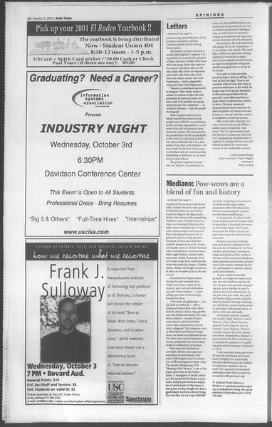 Daily Trojan, Vol. 144, No. 24, October 02, 2001
