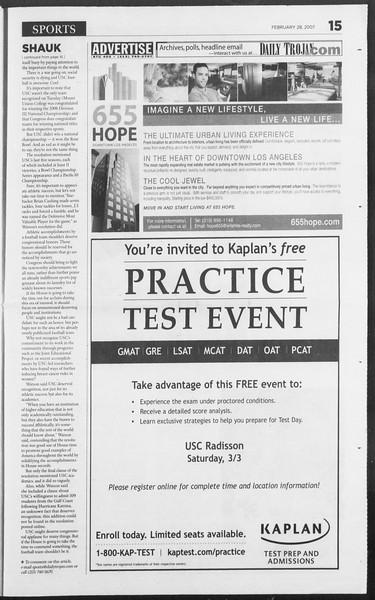 Daily Trojan, Vol. 160, No. 33, February 28, 2007