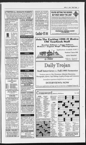 Daily Trojan, Vol. 124, No. 58, April 17, 1995