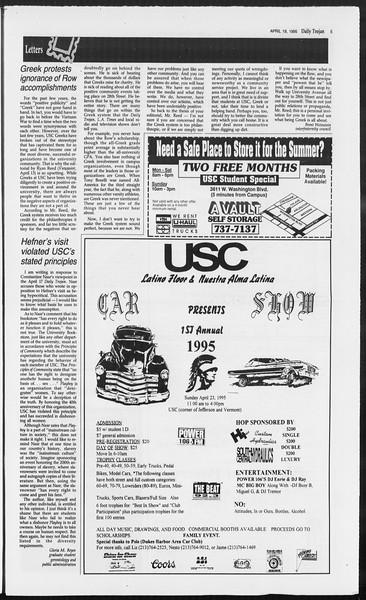 Daily Trojan, Vol. 124, No. 60, April 19, 1995