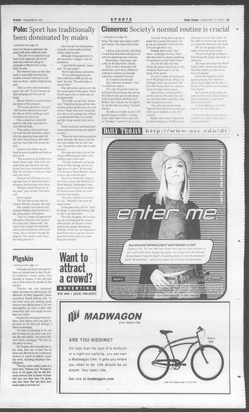 Daily Trojan, Vol. 144, No. 11, September 13, 2001