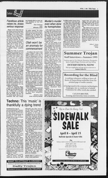 Daily Trojan, Vol. 124, No. 52, April 07, 1995