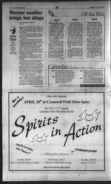 Daily Trojan, Vol. 136, No. 49, April 07, 1999