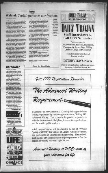 Daily Trojan, Vol. 136, No. 57, April 19, 1999