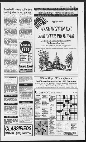 Daily Trojan, Vol. 124, No. 21, February 13, 1995
