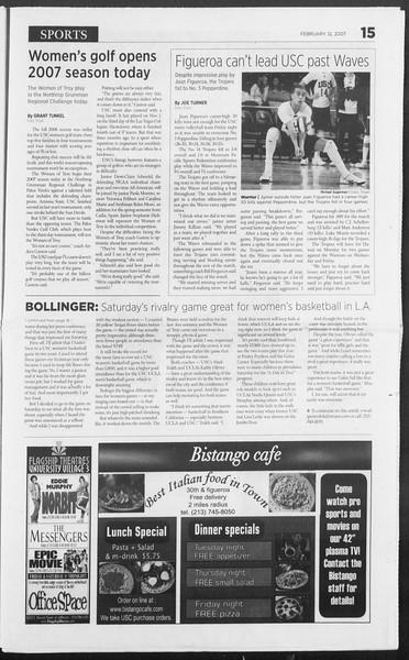 Daily Trojan, Vol. 160, No. 23, February 12, 2007