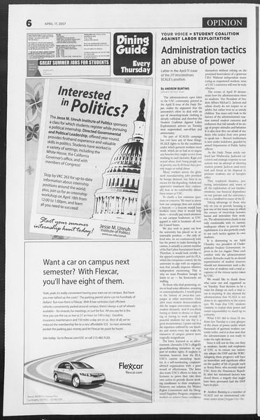 Daily Trojan, Vol. 160, No. 60, April 17, 2007