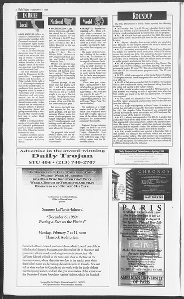 Daily Trojan, Vol. 122, No. 18, February 07, 1994