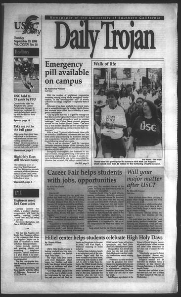 Daily Trojan, Vol. 135, No. 18, September 29, 1998