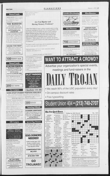 Daily Trojan, Vol. 160, No. 16, February 01, 2007