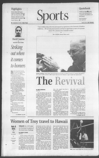 Daily Trojan, Vol. 144, No. 6, September 06, 2001