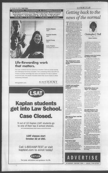 Daily Trojan, Vol. 144, No. 33, October 15, 2001