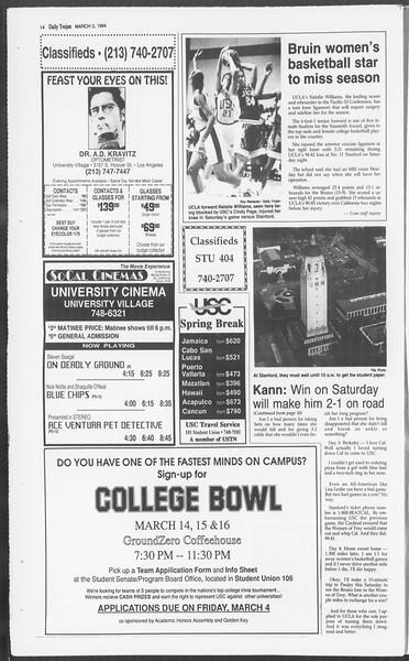 Daily Trojan, Vol. 122, No. 33, March 02, 1994