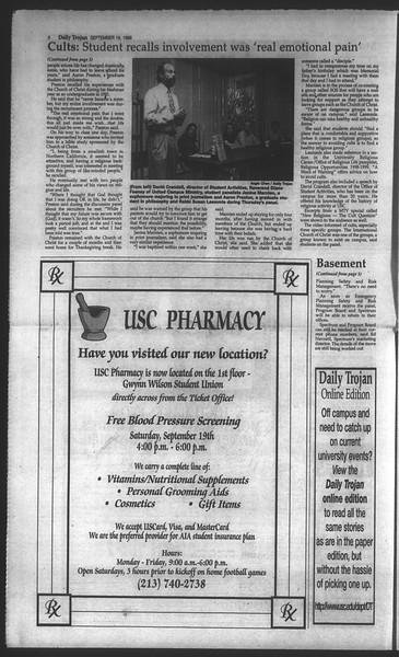 Daily Trojan, Vol. 135, No. 11, September 18, 1998