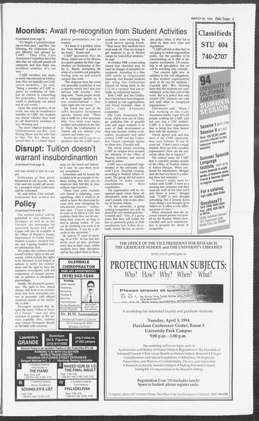 Daily Trojan, Vol. 122, No. 50, March 25, 1994