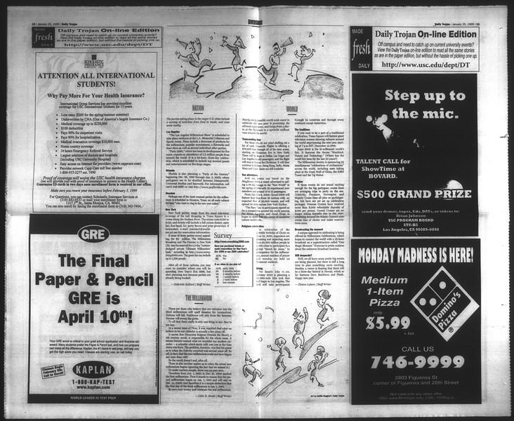 Daily Trojan, Vol. 136, No. 6, January 25, 1999
