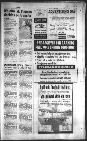 Daily Trojan, Vol. 136, No. 49, April 07, 1999