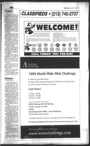 Daily Trojan, Vol. 136, No. 2, January 15, 1999