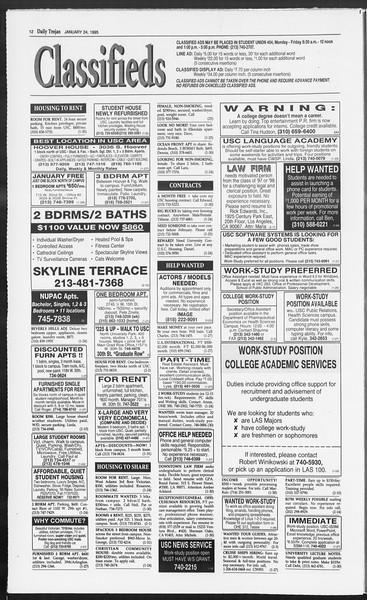Daily Trojan, Vol. 124, No. 7, January 24, 1995