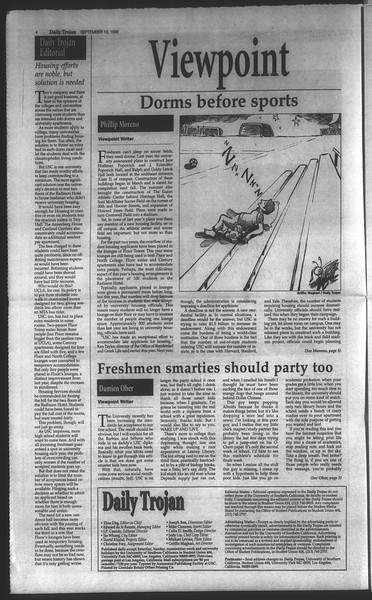 Daily Trojan, Vol. 135, No. 11, September 18, 1998