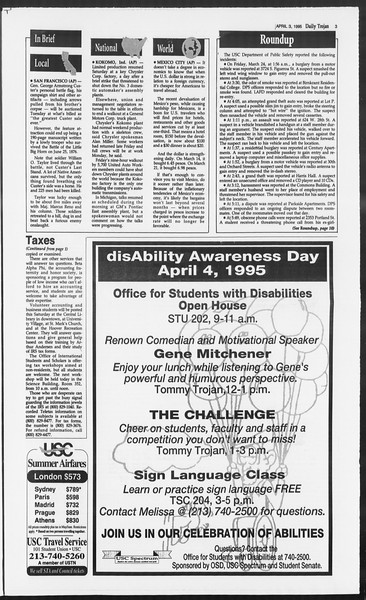 Daily Trojan, Vol. 124, No. 48, April 03, 1995