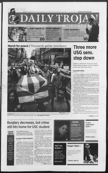 Daily Trojan, Vol. 160, No. 13, January 29, 2007